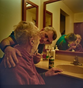 Grant Stoltzfus (John's brother) shaving their dad. Photo credit: Zachary Stoltzfus