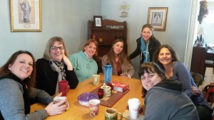 """Participants share coffee at their weekly """"coffee and chaos"""" gatherings."""